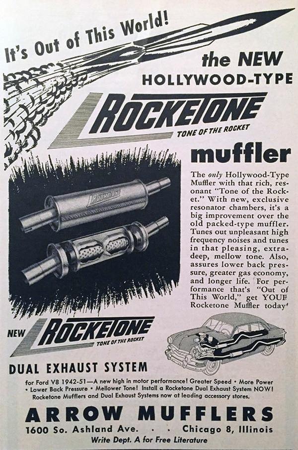 Реклама подвійної вихлопної системи у автомобільному журналі, 1952 р.
